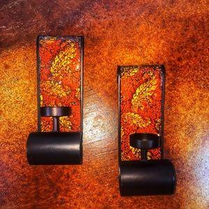 Set of 2 Element tea light crackle mosaic sconces